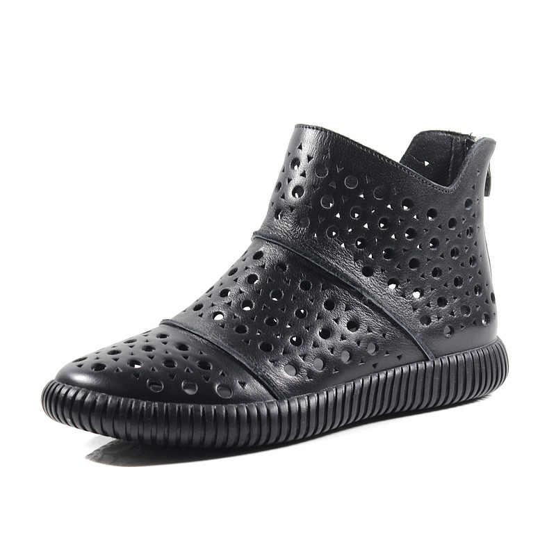 Kadın Deri Çizmeler Sandalet Düşük Topuklu Rahat beyaz ayakkabı Kadınlar Hollow Out Yaz yarım çizmeler Siyah El Yapımı Hakiki Deri Çizme