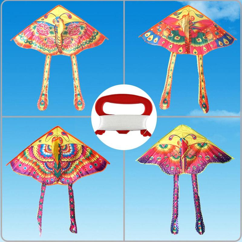 1Pcs Traditional Kite Outdoor Colorful Butterfly Foldable Kite Toys Kids Medium Butterfly Kite Flying Toy