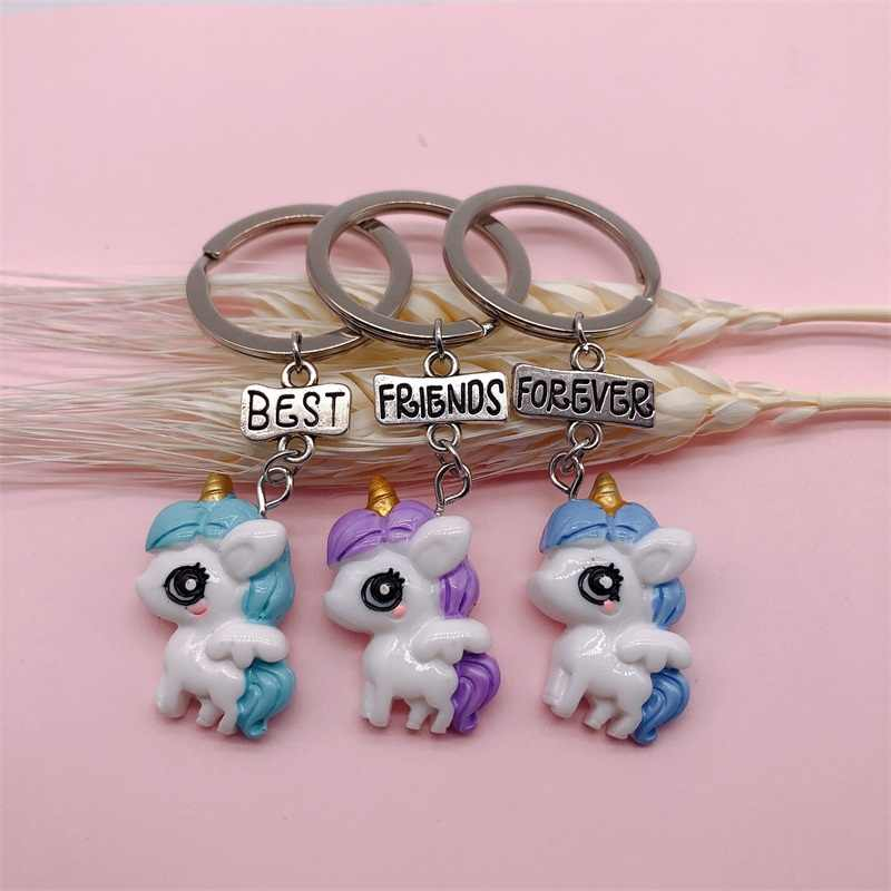 MINGQI Cartoon Animal Unicorn BFF Best Friends Forever Keychain Creative Fun Bags Best Friends Gifts For Kids Accessories