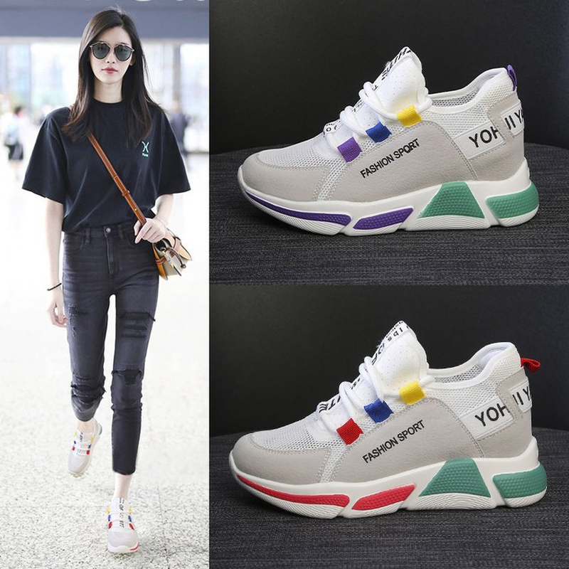 Womens vulcanized shoes 2019new high in the summer, bottom of muffin round head deep mouth large size soft