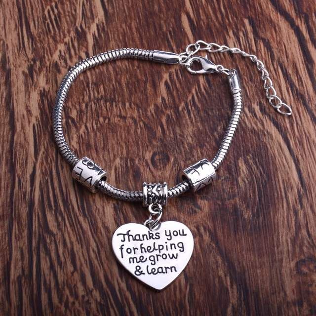 a7b0dd694fc37 US $1.7 18% OFF|Thank You For Helping Me Grow & Learn Engraved Love Words  Charms Bracelet For Teacher Jewelry Gifts For Teacher Bangle-in Charm ...