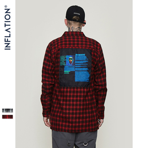 Image 2 - INFLATION Oversized Check Long Sleeve Casual Shirt 2020 Autumn & Winter Fashion Hip Hop Men Plaid Flannel Check Shirt 8713W