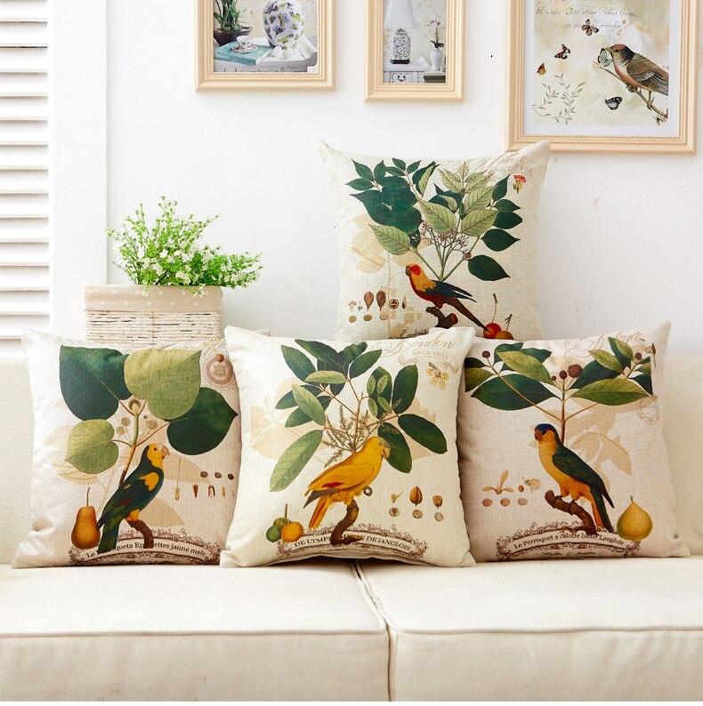 1PC American Country Flower Bird Cushion Decorative Pillow Home Decor Sofa Throw Pillow Coussin OU 043