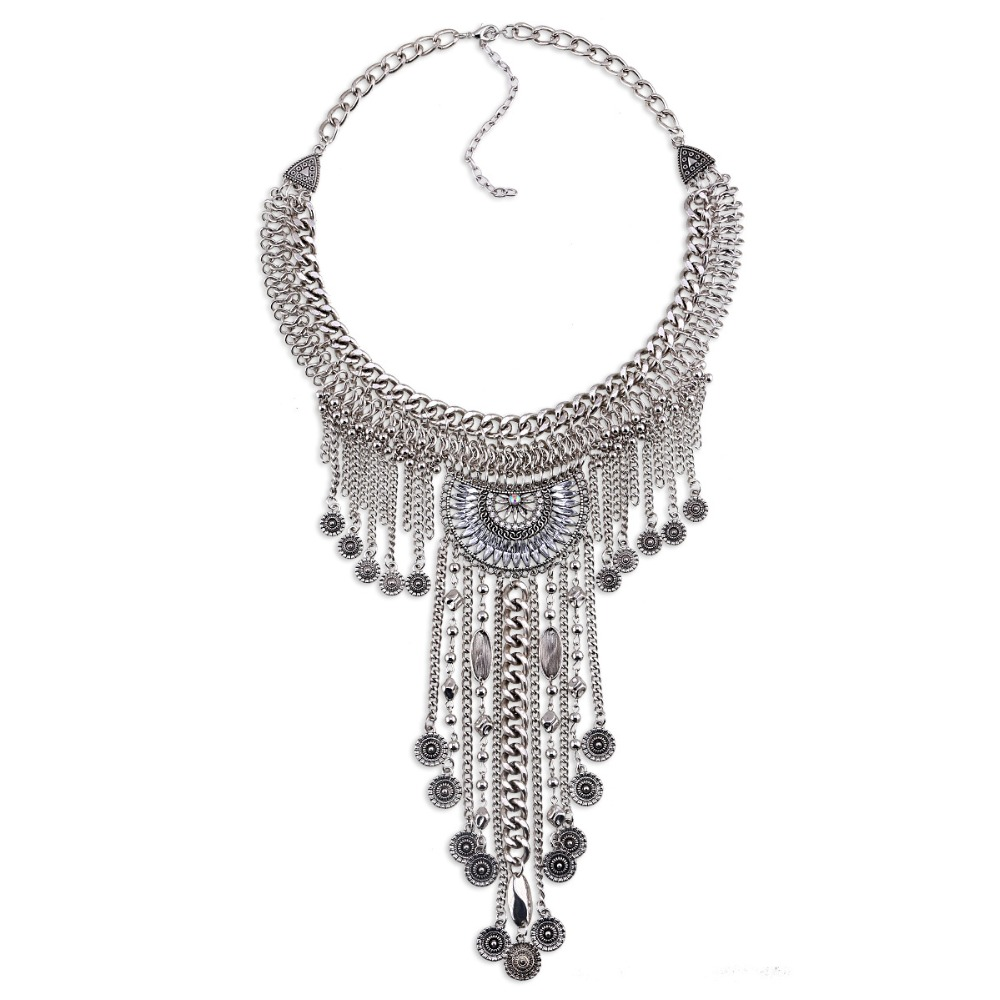 CINDY XIANG New Arrival Vintage Long Tassel Statement Necklaces for Women Fashion Crystal Party Jewelry 2 Colors Available Gift