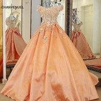 LS60080 orange и цвета слоновой кости robes de soiree longue с открытыми плечами V шеи аппликация атласные вечерние платья Длинные Персик вечернее платье