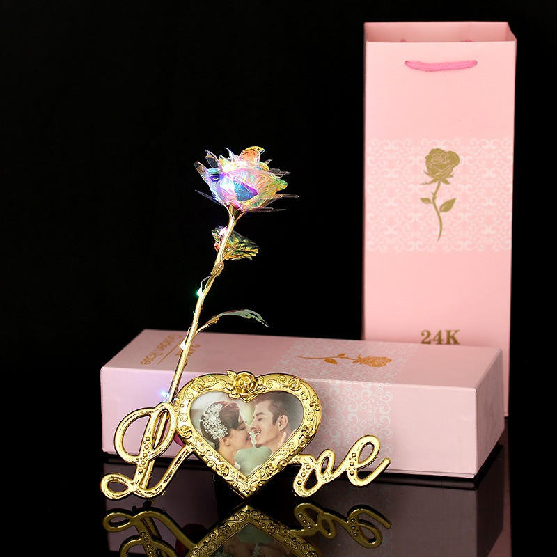 Artificial Rose Flower 24K Gold Plated With Photo Frame Base Unique Gifts For Valentine's Day Festival Day Home Wedding Deor