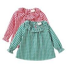 От 0 до 2 лет Одежда для маленьких девочек, рубашка клетчатая рубашка, 3 цвета, красный, зеленый, черный одежда для девочек Весенняя модная одежда с длинными рукавами для маленьких девочек