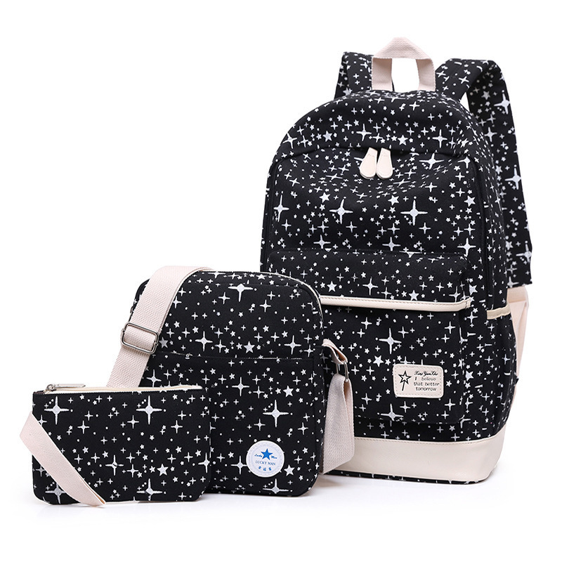 Kajie Children Star Printing Backpack For Teenagers Girls School Bags Bag For Grils Large Capacity Schoolbag Blue Bookbag