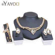 Necklace Fine Women African Beads Jewelry Sets For Party Bridal Imitation Crystal Wedding Dress Accessories Set Earrings Pendant