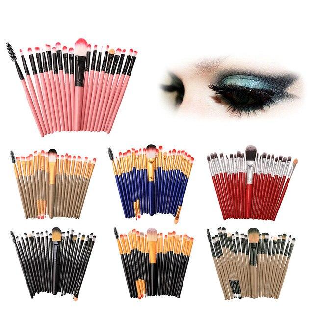 Juego de brochas de maquillaje de 20 piezas, Kit de maquillaje de lana, juego de brochas de maquillaje de alta calidad, fácil de juego de pinceles profesionales