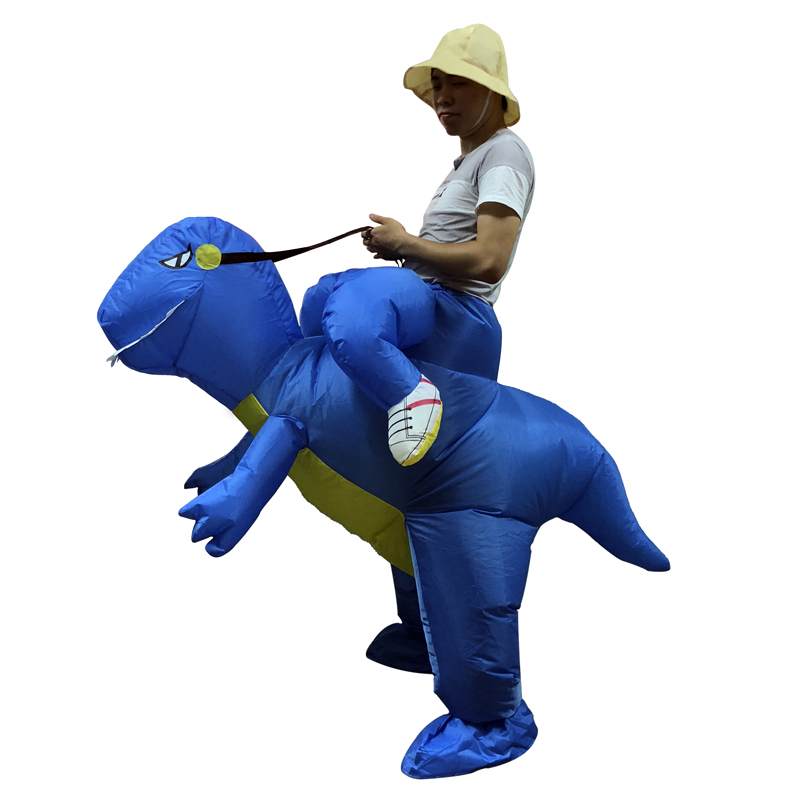 Halloween Carnival costumes for Adult Kids blue Inflatable Dinosaur Animal Costume Riding Dino Funny Dress