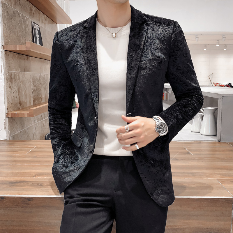 Spring And Autumn New Small Suit Men's Fashion Slim Youth Fashion Korean Print Suit Handsome Jacket Thin Section