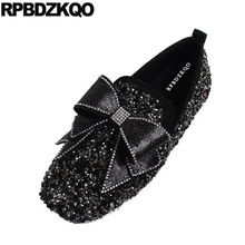 Dress Women Wedding Ballet Shoes Silver Flats Loafers Big Bow Rhinestone  Designer Slip On Square Toe b9e63e630334