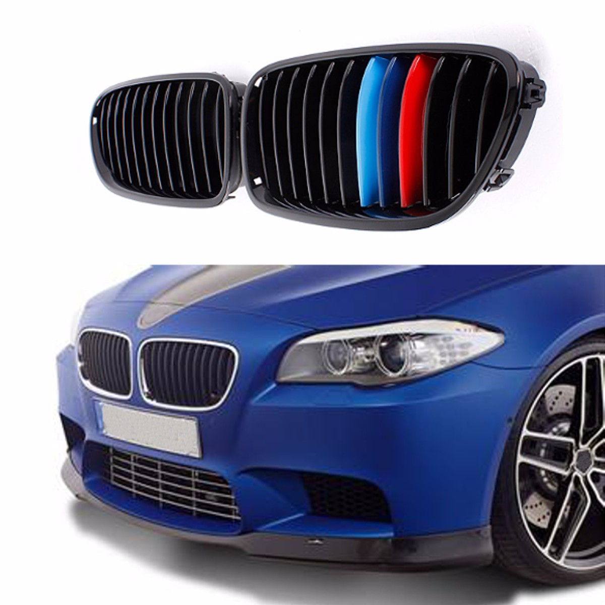 Pair M Color Gloss Black Front Bumper Hood Grill Grille for BMW F10 F11 F18 M5 5 Series 2010 2011 2012 2013 3pcs set m color front grill bumper cover trim decoration strip sticker for bmw 5 series f10 f11 2011 2013 f10 f18 2014 2015