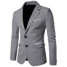 купить!  Повседневная Чересстрочная Печать Blazer Hombre Роскошный Блейзер Masculino Тонкий Свадебное Платье