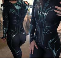3D Print Hela Cosplay Costume Halloween Costumes for Women Cosplay Thor Ragnarok Hela Zentai Spanbdex Bodysuit No Cape