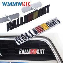 Металлическая 3d-наклейка Ralliart с эмблемой переднего гриля для Mitsubishi ralliart Lancer 9 10 Asx Outlander 3 Pajero, автомобильный Стайлинг
