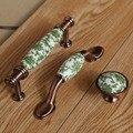 """76mm 96mm vintage rural branco armário de cozinha dresser maçanetas de cerâmica verde 3 """"cobre antigo da gaveta do armário puxa maçanetas"""
