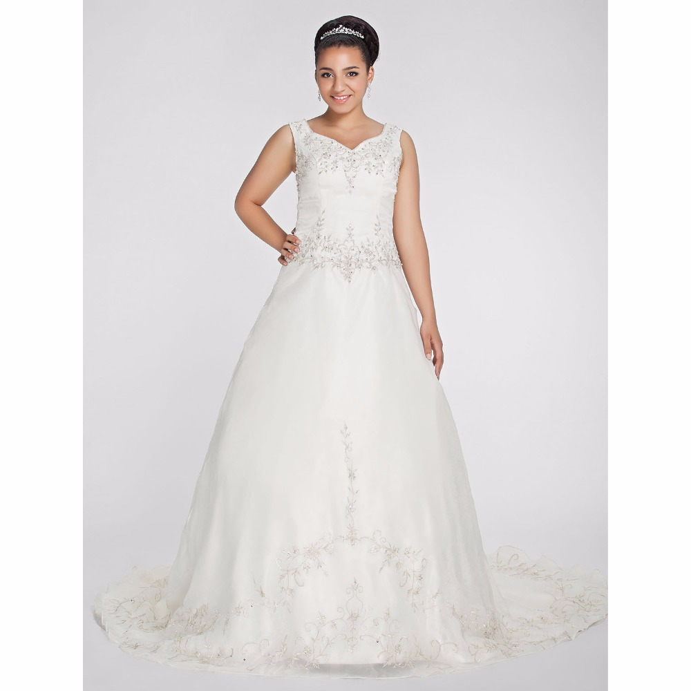 LAN TING BRIDE A Line Backless Plus Size Wedding Dress
