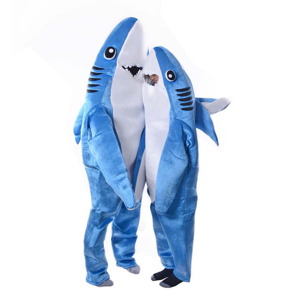 popular shark pajamas buy cheap shark pajamas lots from adult kids attack shark costume party mascot costume blue shark animal costume jumpsuit halloween fancy dress