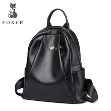 FOXER Women Genuine Cow Leather Commuter Style Backpacks Girls School Bags Ladies Soft Preppy Female Fashion Travel