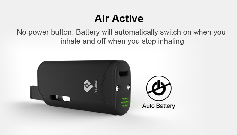 , Original Airis Diamond Kit Electronic Cigarette CBD Oil Vaporizer 280mAh Auto Battery With 0.8mL Cartridge Portable CBD Vape Kit