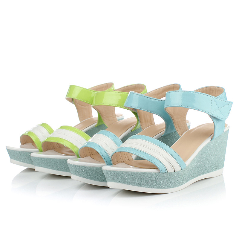 ENMAYLA Summer New Sweety Solid Color Casual Open toe Shoes Sandals Med Heels Platform Sandal Breathable Comfort Women Sandals in High Heels from Shoes