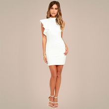 White Black OL Elegant Bodycon Dresses 2017 Women One Side Tiered Ruffle Cute Sleeveless Dress Summer New O Neck Sexy Midi Dress