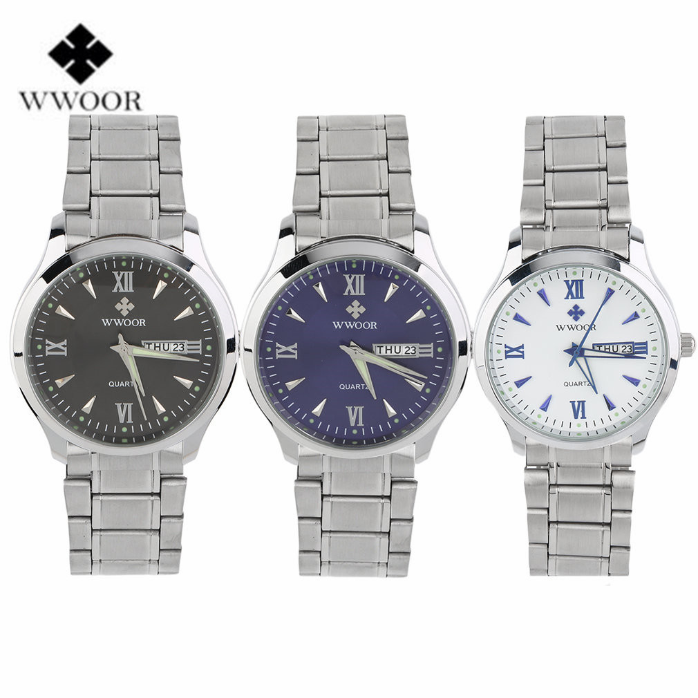 WWOOR Luxury Day Date Hours Clock Male Silver Stainless Steel Casual Quartz Watch Men Sports Wristwatch 2017 Top Brand men watches top brand wwoor date clock male waterproof quartz watch men silver steel mesh strap luxury casual sports wrist watch