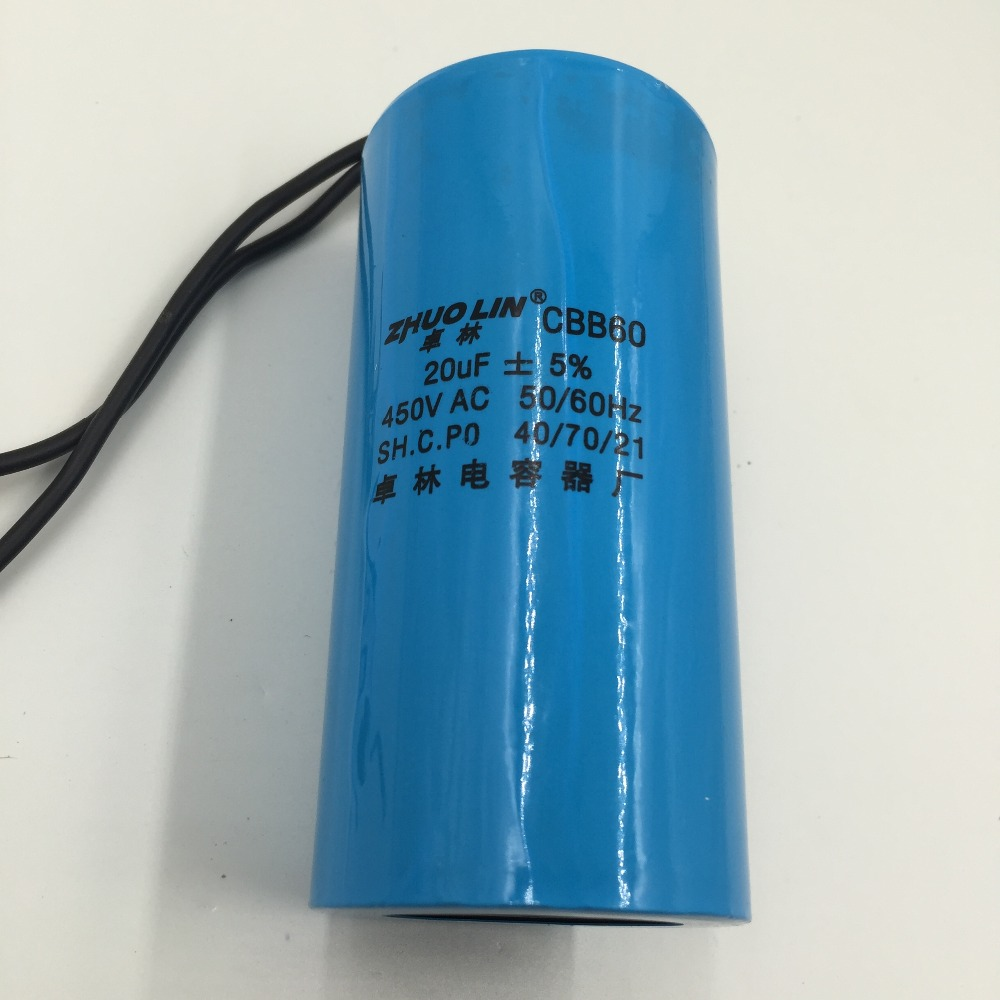 CBB60 20uF 5% AC 450V Two Red Wire Terminal Motor Run Capacitor-in ...