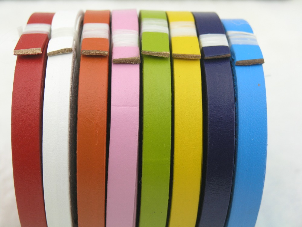 21 Colors Available--3 Meter 10.0x2.0mm Flat Soft Real/Genuine Leather Cord/strap For Leather Bracelet--LCF102