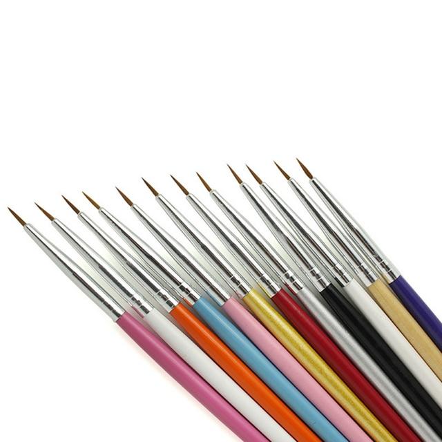 12pcs Nail Art Design Brush Brushes Pen Fine Details Liner Tips