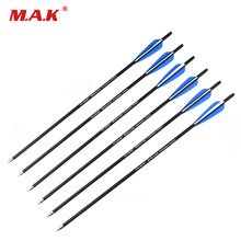 22 Inches Crossbow Archery Carbon Arrows Target Hunting Arrows with Replaceable 125 Grain Point Tips Packed in 6/12/24pcs