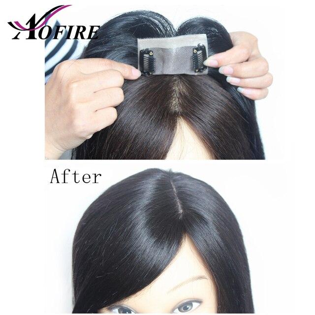 10 cm * 7 cm tamaño cabello humano tupé para mujeres y hombres Pre desplumado 8-12 virgen brasileña cierre de cabello nudos blanqueados con Clips