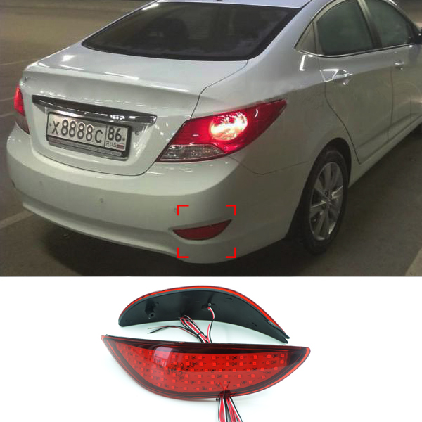 2Pcs/Lot Car Warning Rear Bumper Brake Light For Hyundai Accent/Verna 2008 2009 2010 2011 2012 2013 2014 2015 Accessories car rear trunk security shield cargo cover for jeep compass 2007 2008 2009 2010 2011 high qualit auto accessories