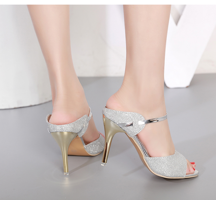 LAKESHI Summer Women Pumps Small Heels Wedding Shoes Gold Silver Stiletto High Heels Peep Toe Women Heel Sandals Ladies Shoes 17