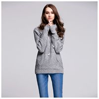 Hot Fashion Women's New Fashion Spring Autumn Casual Jumper Sweater Pocket Knitted Long Sleeve Casual Sweater Pullover