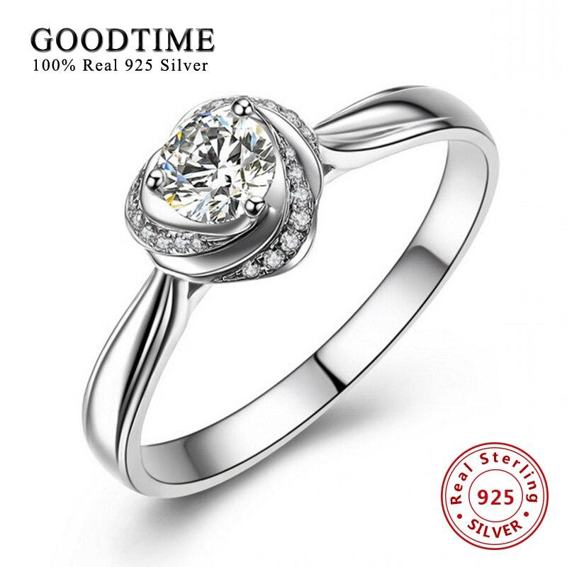 Romantické květinové srdce Zirconia snubní prsteny pro ženy Real 925 Sterling Silver Zásnubní prsten Anillo Bague GTR010