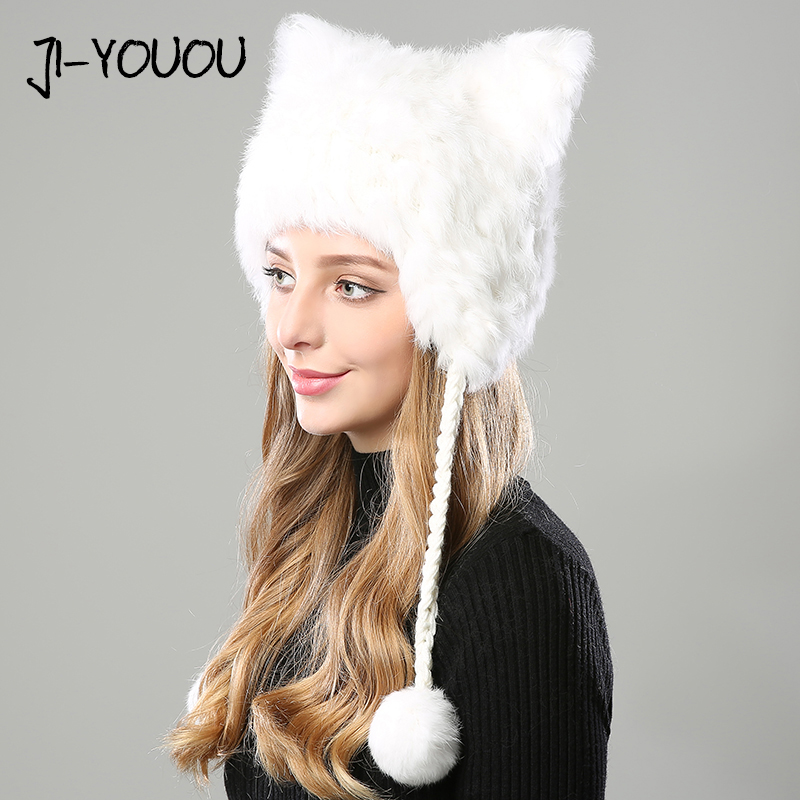 winter hats for women 2018 beanie girls hat fur pompom knitted crocheted with ear flaps Skullies cashmere warm with hat ears