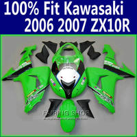 Tanio!!! zielony czarny ZX10r 2006 07 Fairings Dla Kawasaki Ninja zx 10r 06 2007 wtryskarek jakość Fairing kit x168