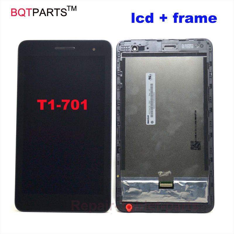 7 inch Black For Huawei Honor Play Mediapad T1-701 T1 701U lcd display with digitizer touch screen assembly with Frame digital capacitive touch sensor switch module
