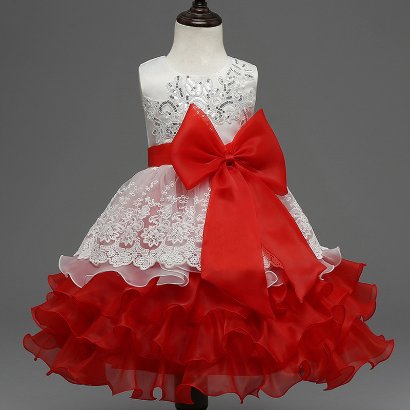 C00272 Wholesale Europe and America Spring and Summer Sequin embroidery Dress Bowknot Multi-layer Puff Flower Girl Dress