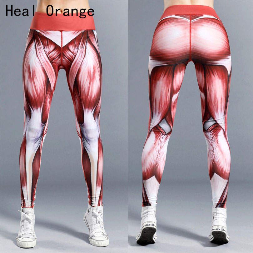 Heal Orange Quality Women Yoga Pants Muscle Power Print Sport Leggings High Waist Sport Legging Gym Pants Women Fitness Pantalon exotao high waist denim pants for women vintage ripped holes jeans harem pantalon 2017 autumn vaqueros mujer pockets pantalon page 6