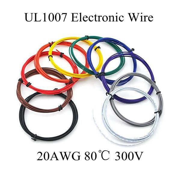 5M 16.4 FT <font><b>20AWG</b></font> Copper Wire Flexible Cable Stranded of10 Colors <font><b>UL1007</b></font> Diameter 1.8mm Environmental Electronic Wire Diy image