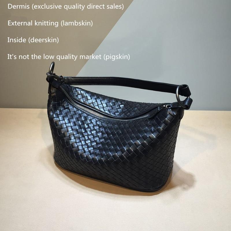 Women\'S Woven Bag Pattern Sheepskin Internal And External Dermis Shoulder Straps The Single Shoulder Bag Manual