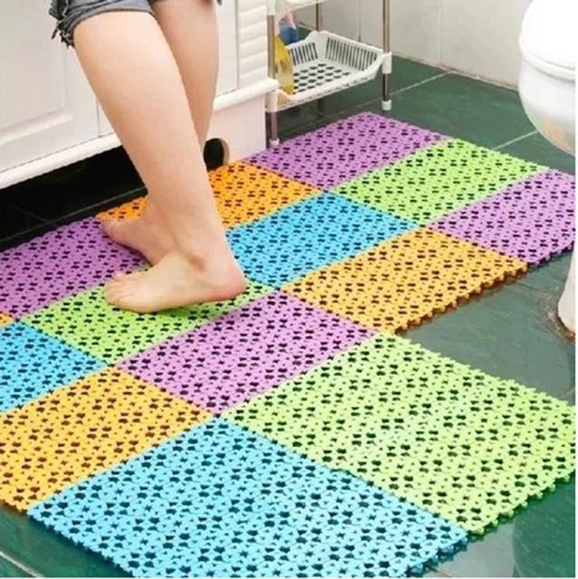 Ouneed Bathroom Bath Mat Massage Random 30x20 CM Practical Nice Plastic Non-slip Anti-bacterial Shower Mat 1PC