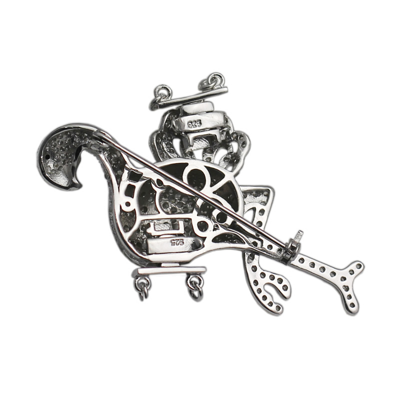 Beadsnice 925 Sterling Argent Animaux Conclusions CZ Pave Fermoir Broche Multi Strand Collier Faisant Accessoires ID 35291 - 3