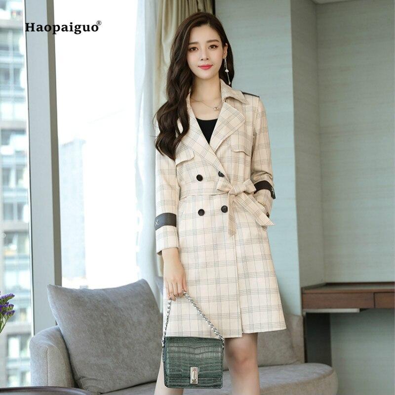 Plus Size Autumn Winter Fashion Women Coats Khaki Beige Full Sleeve Turn-down Collar Plaid PU   Leather     Suede   Elegant Long Coat