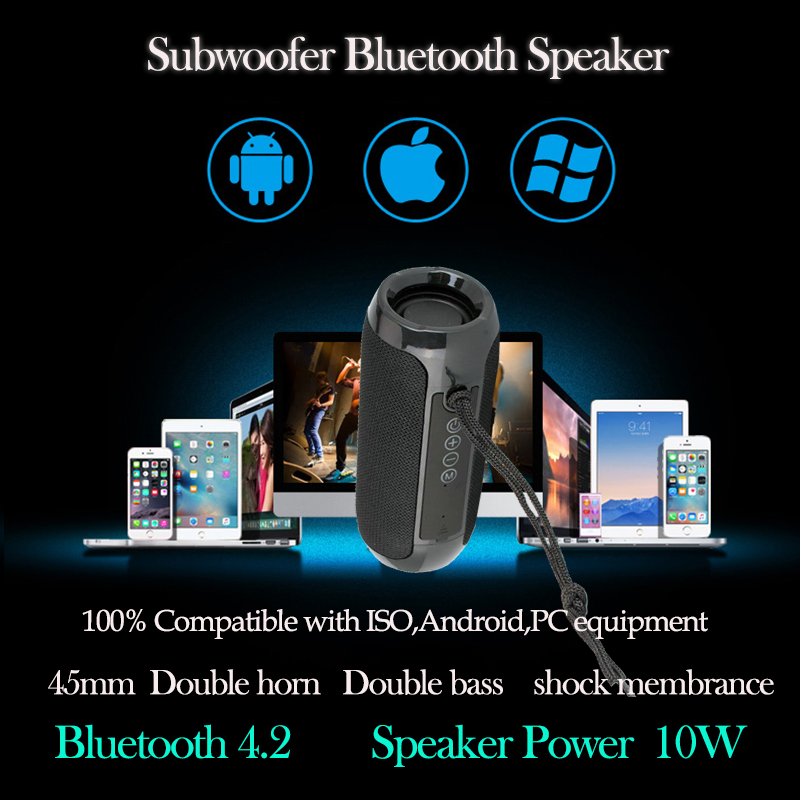 Portable Speaker Wireless Bluetooth Speakers Soundbar Outdoor Sports Waterproof Support TF Card FM Radio AUX Input MP3 TG117 in Portable Speakers from Consumer Electronics