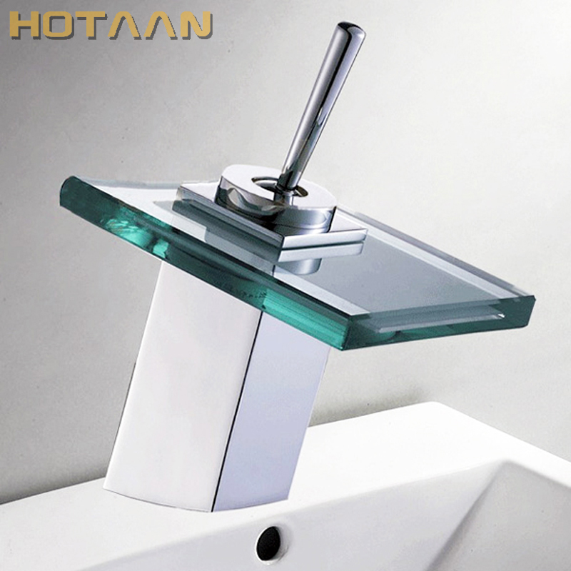 Free shipping  Copper Chrome Waterfall Bathroom Faucet Bathroom Basin Hot and Cold Mixer Brass Lavatory Tap torneira YT-5024